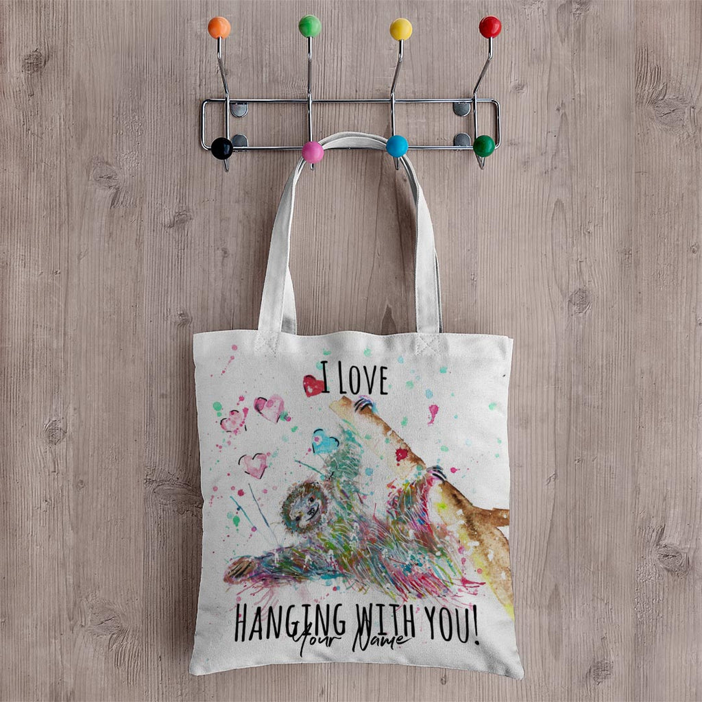 """I Love Hanging With You"" Sloth Personalised Canvas Tote Bag"