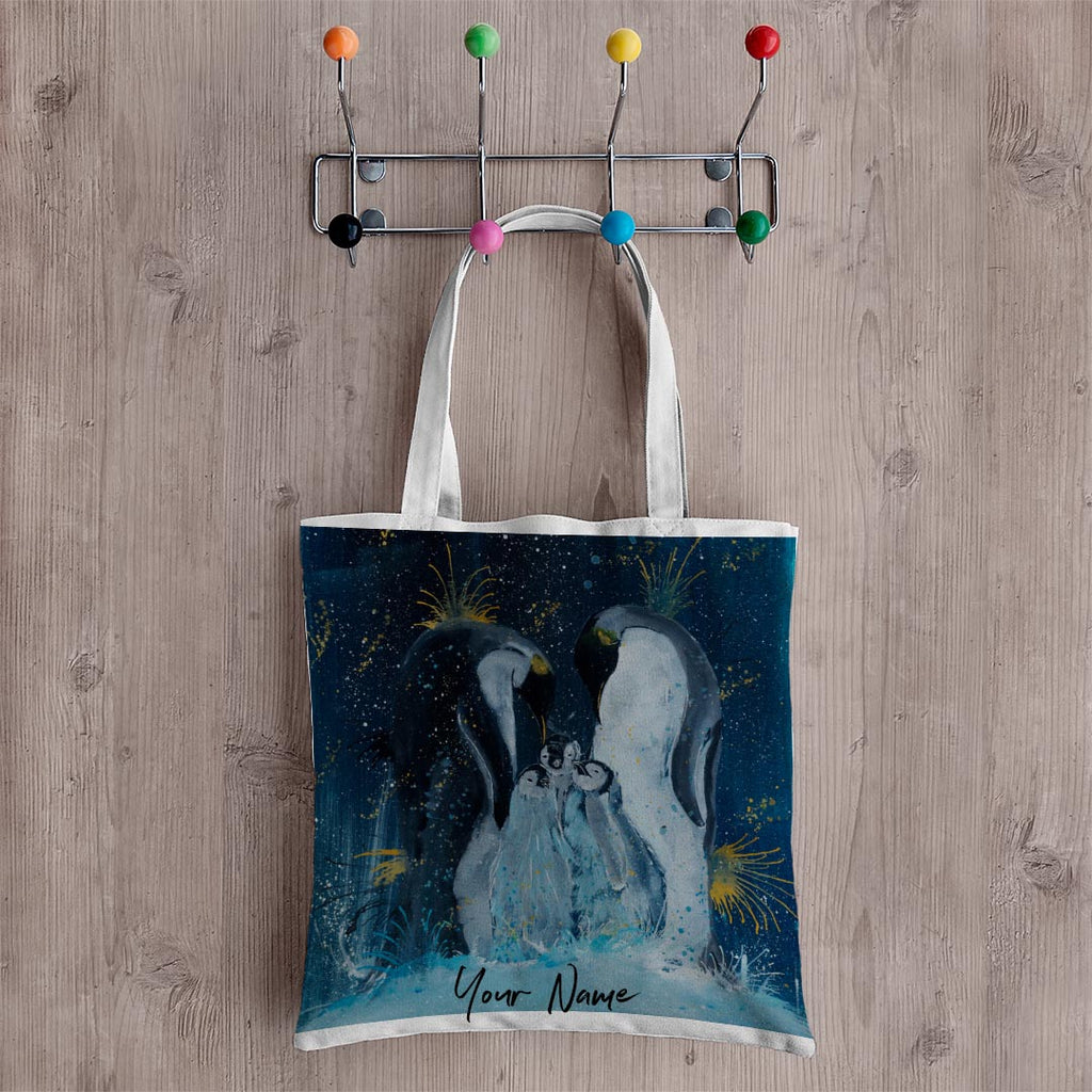 Tranquil Penguins Personalised Canvas Tote Bag