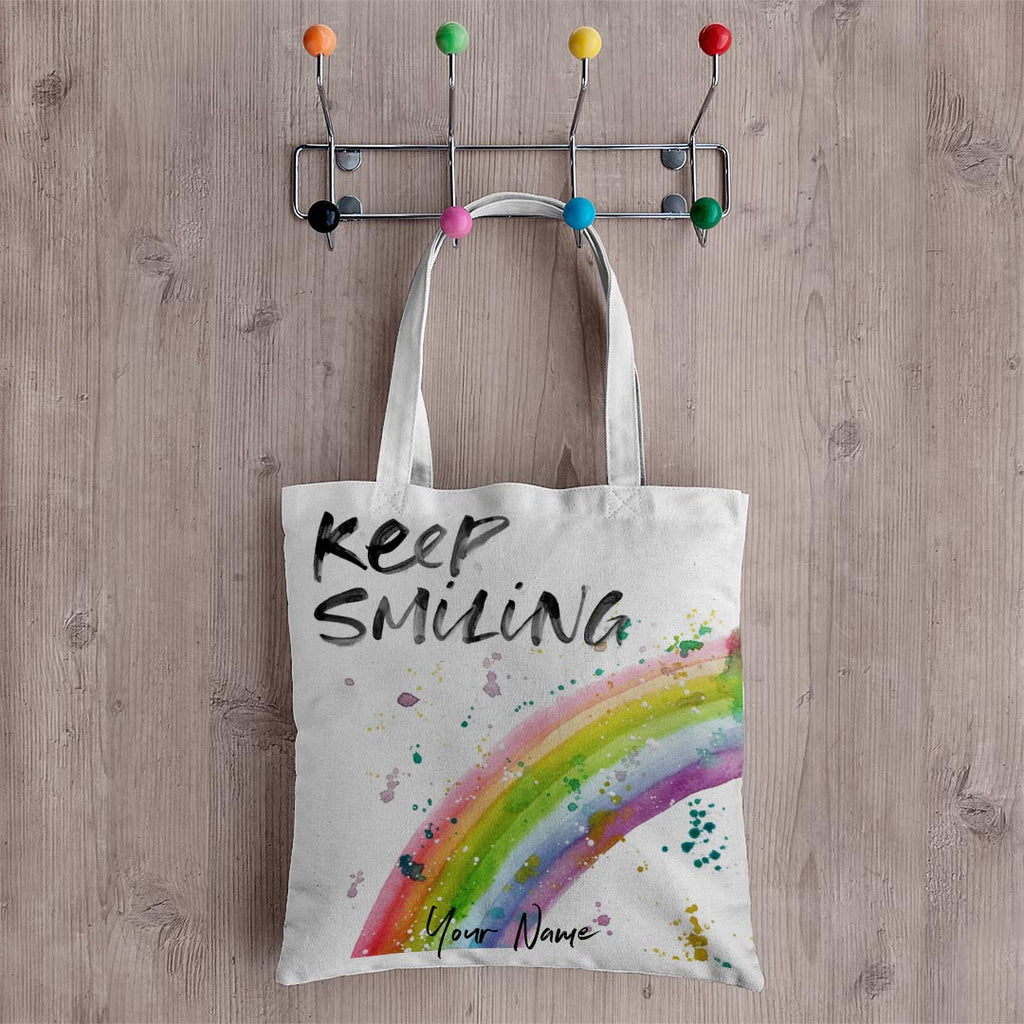Keep Smiling Rainbow Personalised Canvas Tote Bag