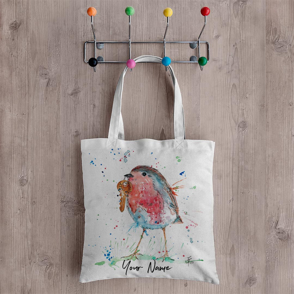 Grateful Robin Personalised Canvas Tote Bag