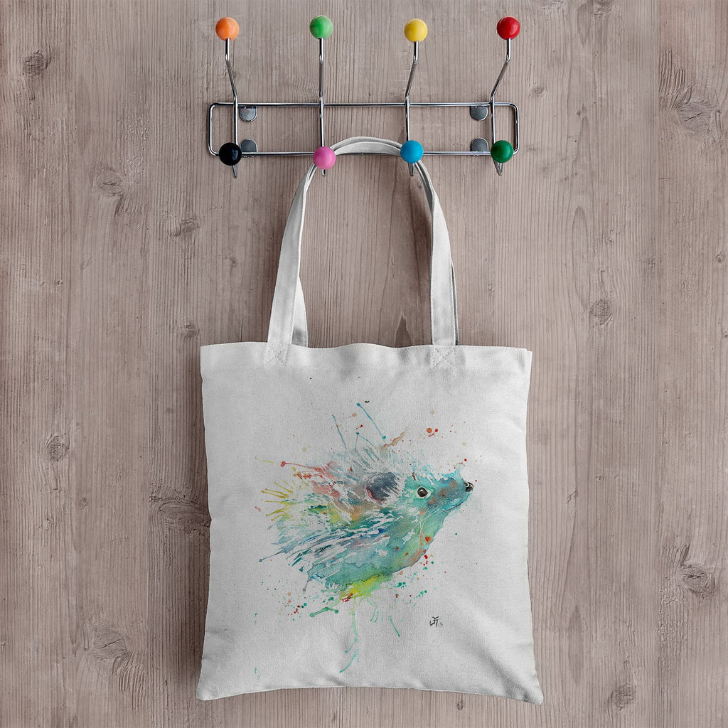 """Cannonball"" Hedgehog Canvas Tote Bag"