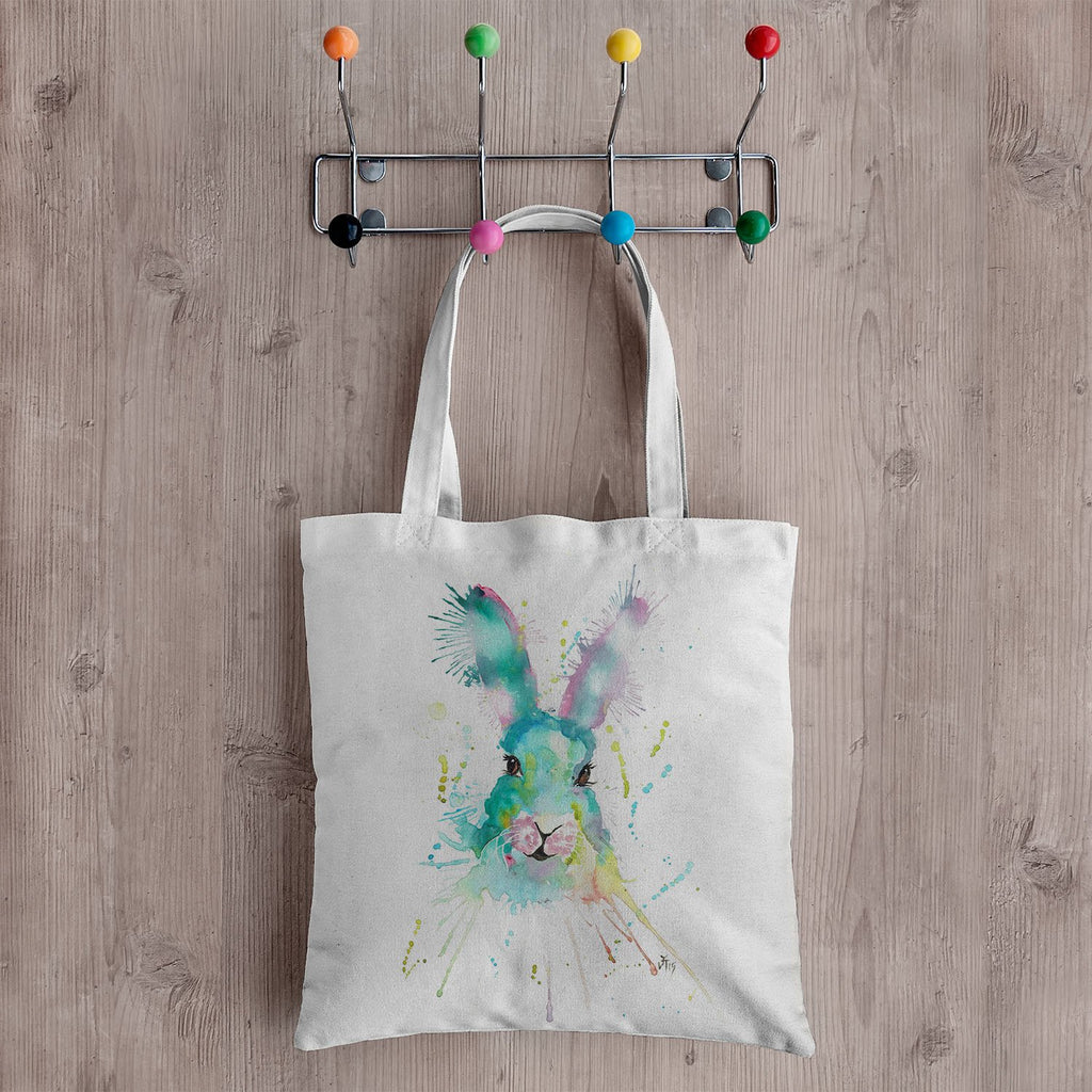 Pink & Green Hare Canvas Tote Bag