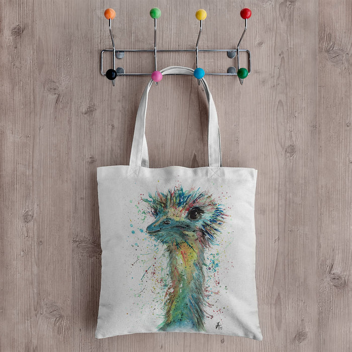 """Ethel"" Ostrich Canvas Tote Bag"