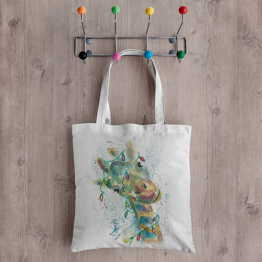 "Christmas ""Hattie"" Giraffe Canvas Tote Bag"