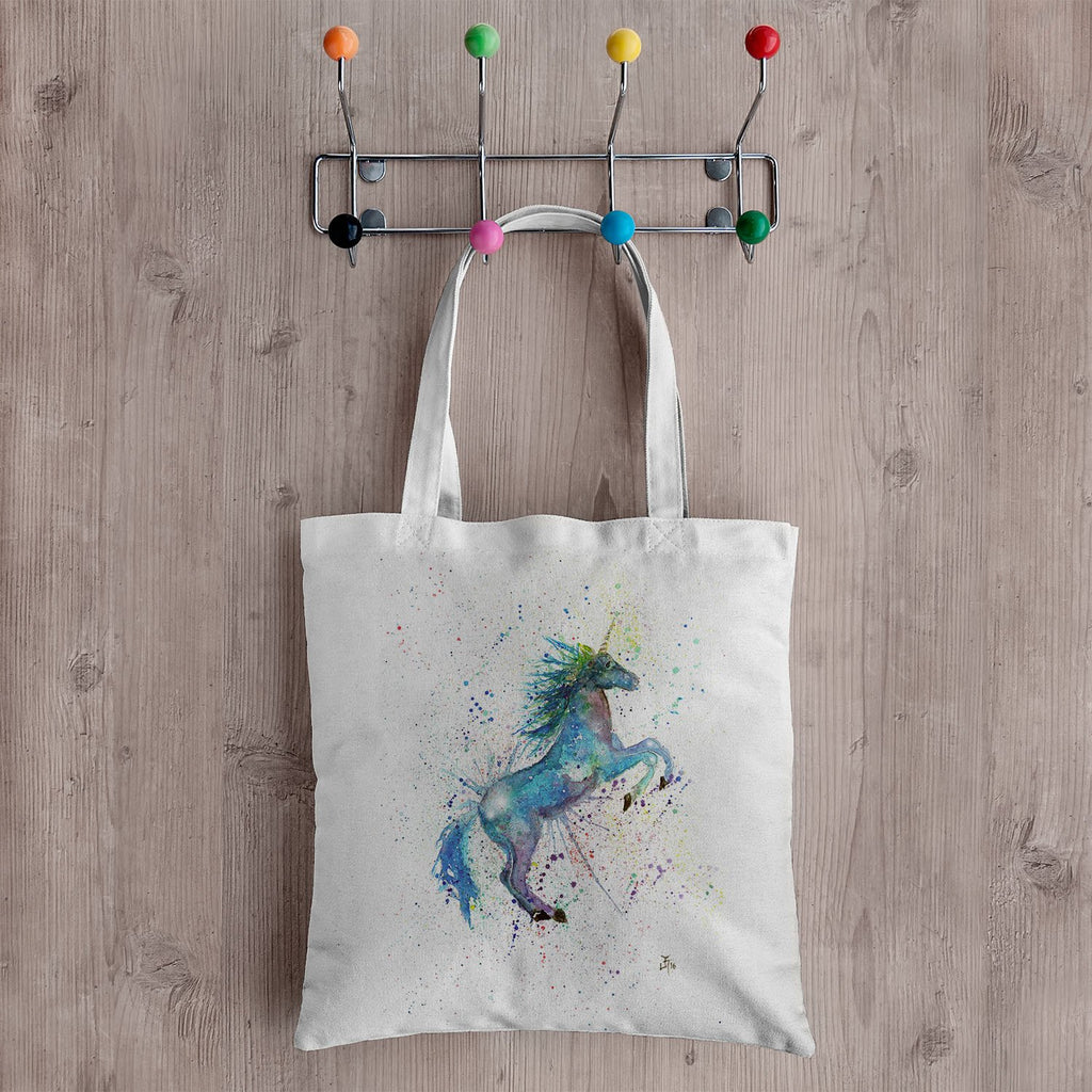 Blue Unicorn Canvas Tote Bag