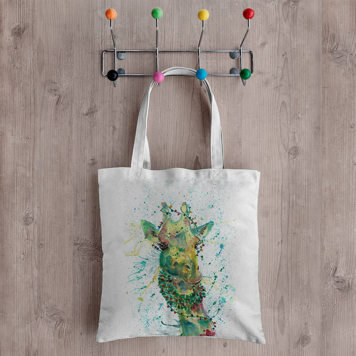 Christmas Wreath Giraffe Canvas Tote Bag