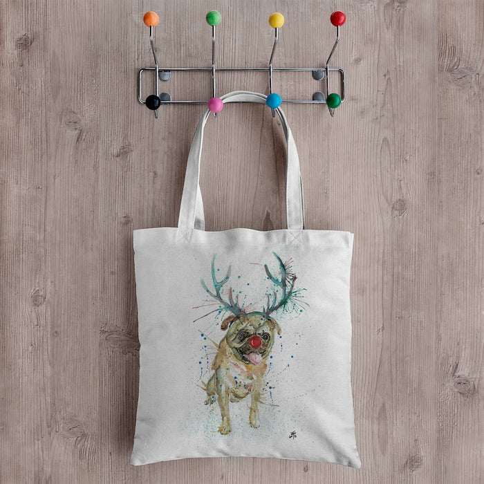 Christmas Pug Canvas Tote Bag