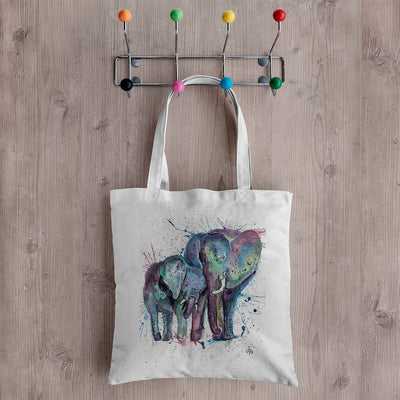 """Us"" Mummy & Babby Elephant Canvas Tote Bag"