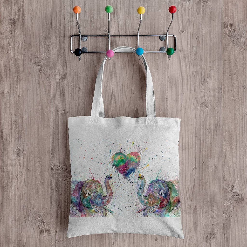 Romantic Elephants Canvas Tote Bag