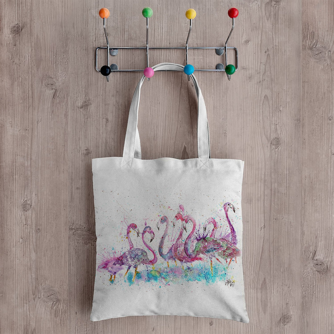 """Flamboyance"" Flamingos Canvas Tote Bag"