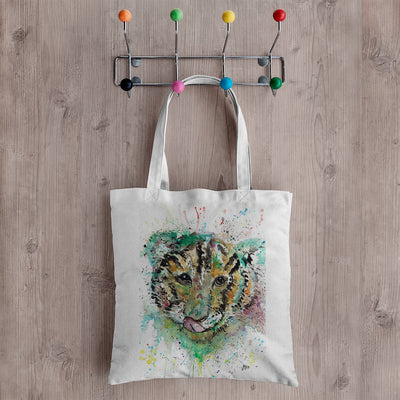 """Franklin"" Tiger Cub Face Canvas Tote Bag"