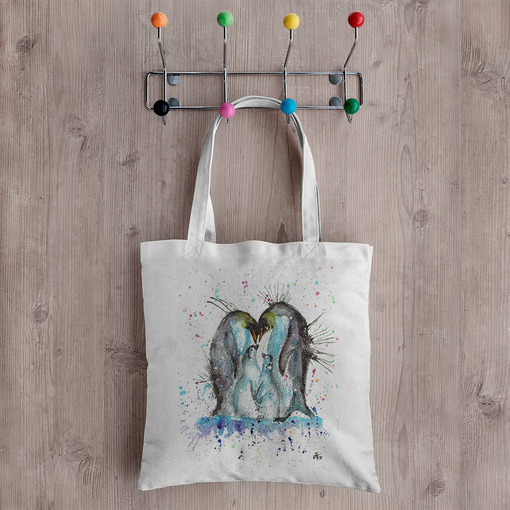 """Home"" Penguins Canvas Tote Bag"