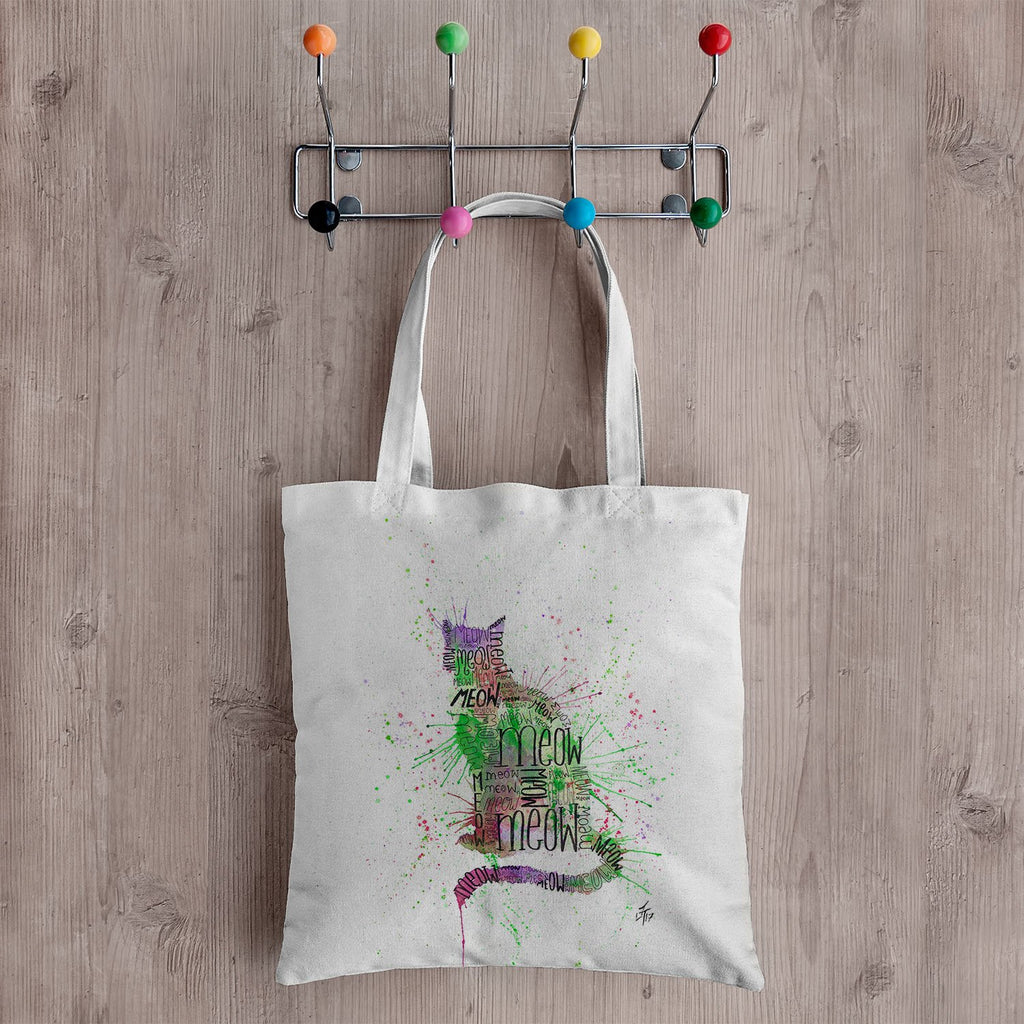 """Meow"" Green Canvas Tote Bag"