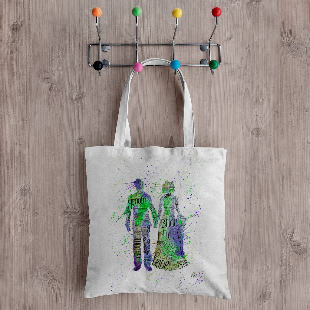 Bride & Groom (Green) Canvas Tote Bag