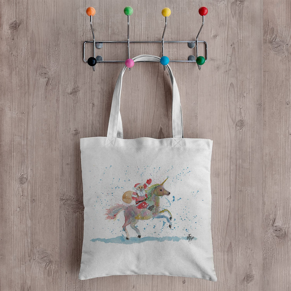 Santa Unicorn Canvas Tote Bag