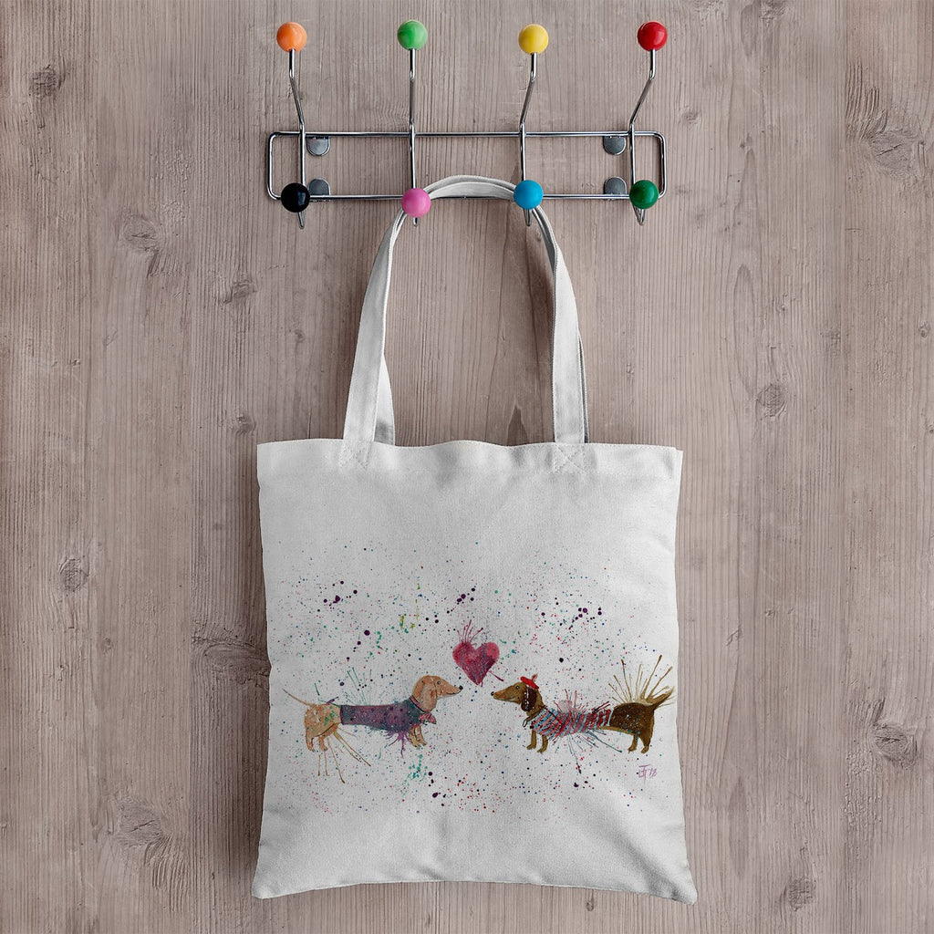 Sausage Dogs in Love Canvas Tote Bag