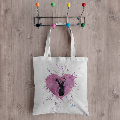 Stag Heart Canvas Tote Bag