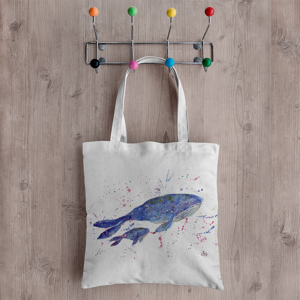 Berta & Baby Whale Canvas Tote Bag