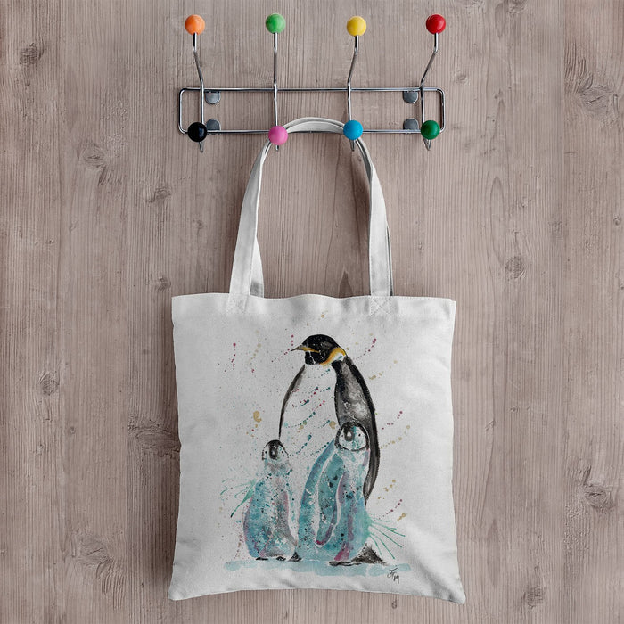 """My Love"" Penguins Canvas Tote Bag"