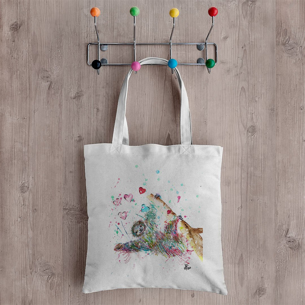 """Hang With Me"" Sloth Canvas Tote Bag"