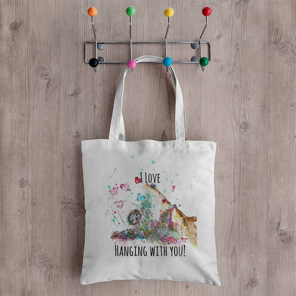 """I Love Hanging With You"" Sloth Canvas Tote Bag"