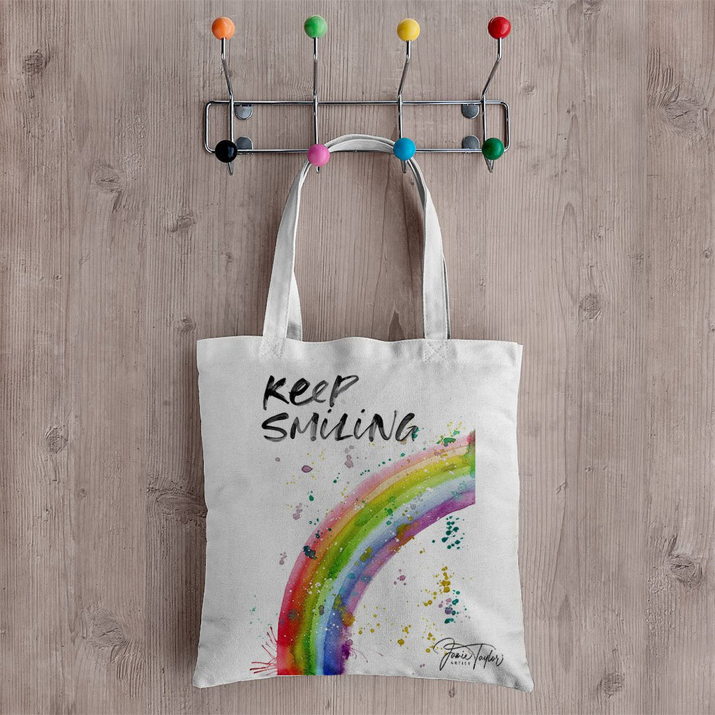 """Keep Smiling"" Rainbow Canvas Tote Bag"