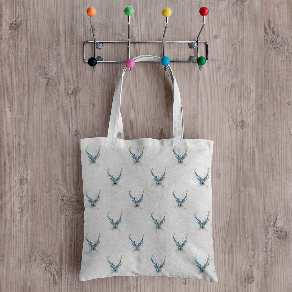 """Bruce"" Stag Repeat Canvas Tote Bag"