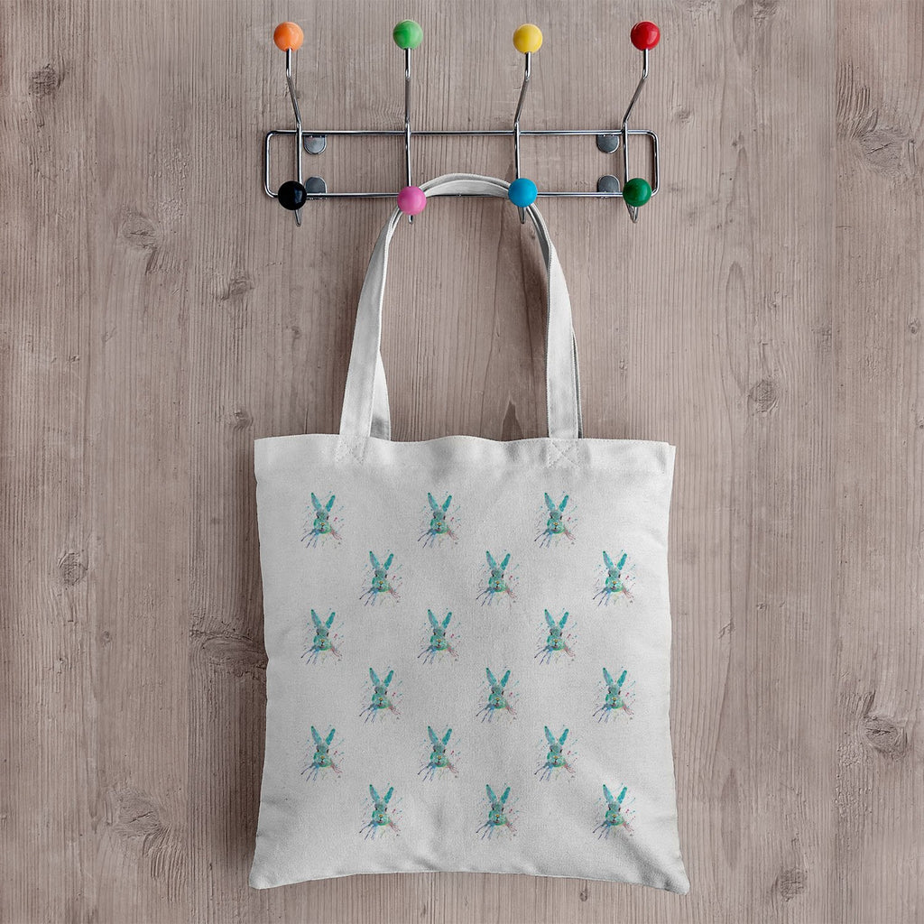 """Minty"" Hare Repeat Canvas Tote Bag"