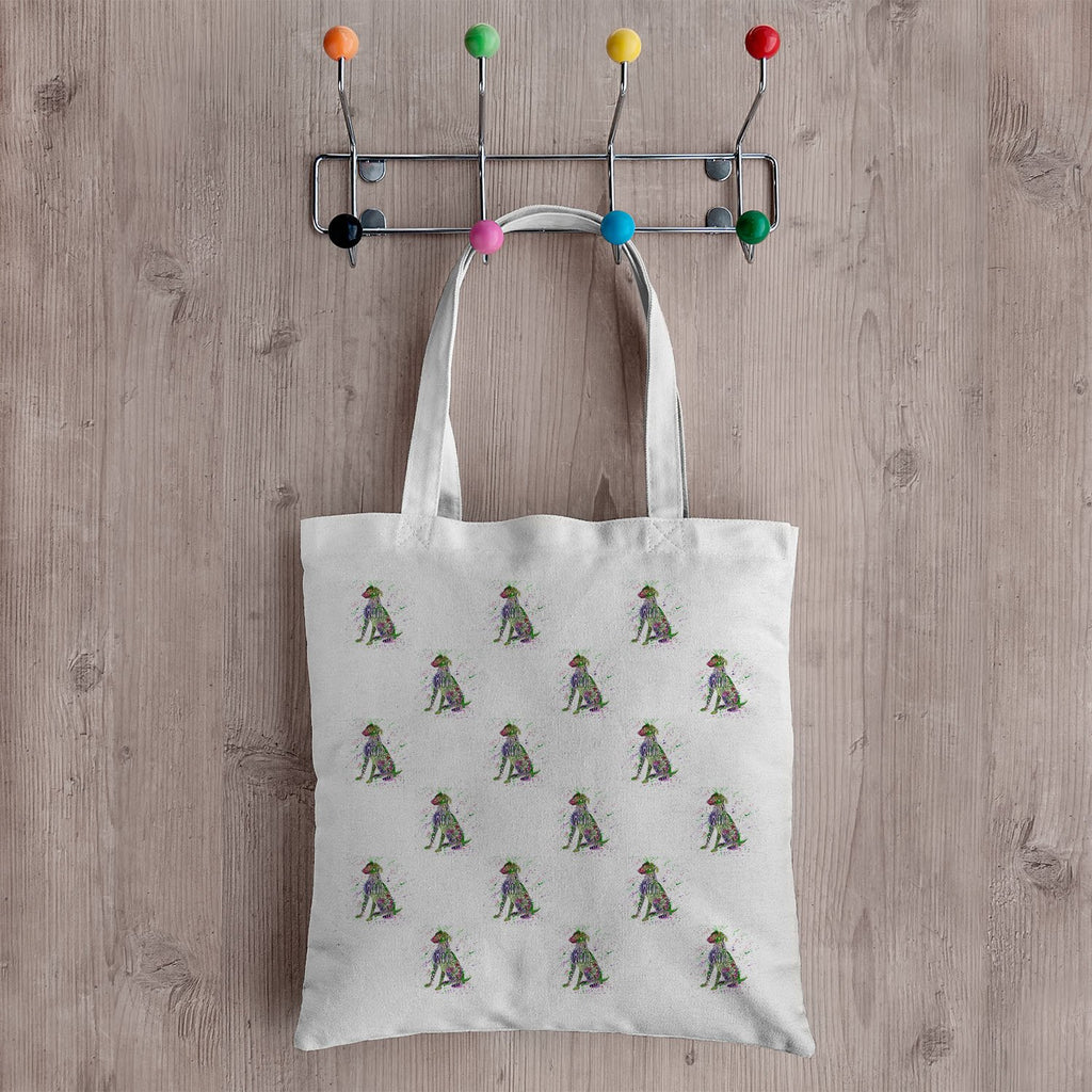 """Woof"" Green Repeat Canvas Tote Bag"