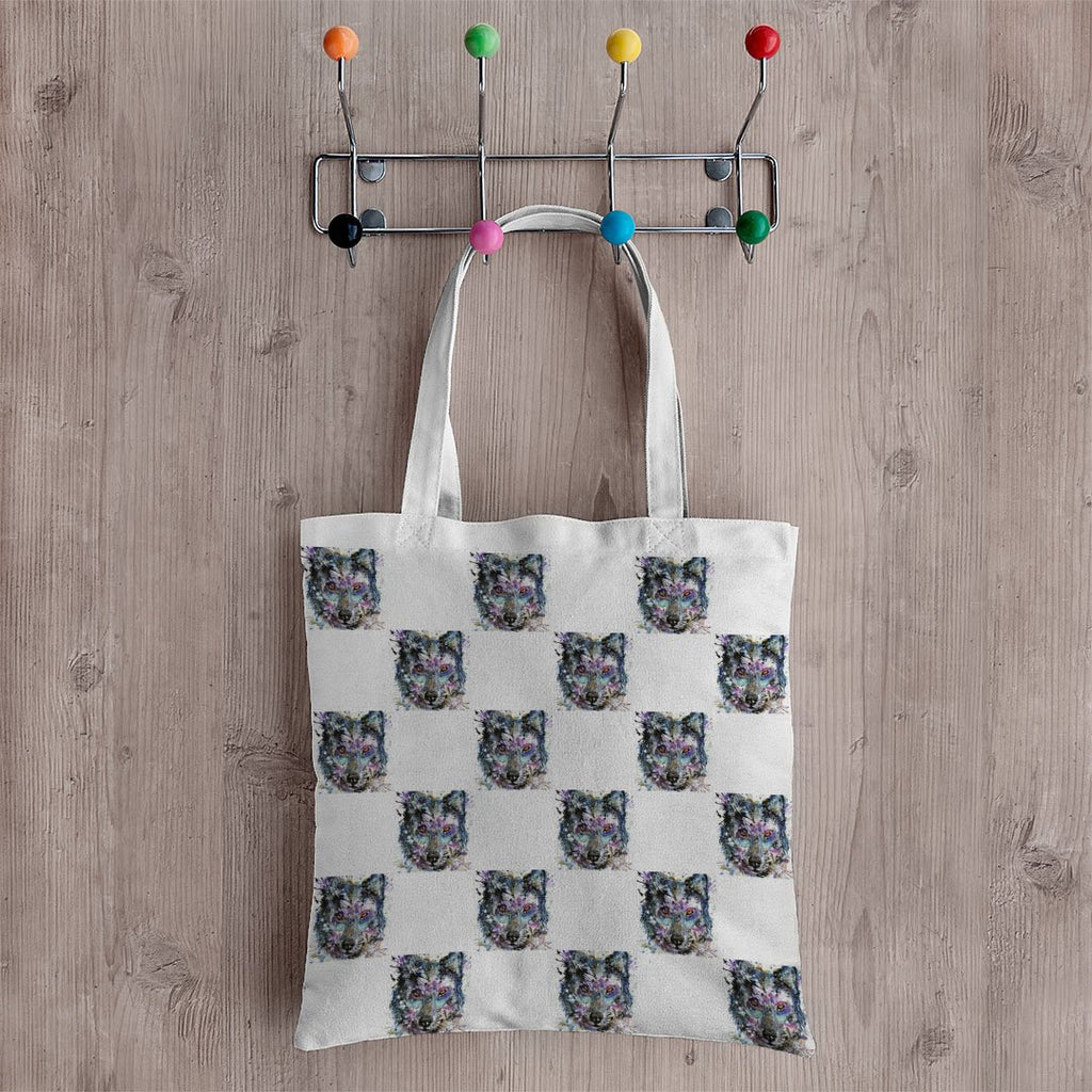 """Howl"" Wolf Repeat Canvas Tote Bag"