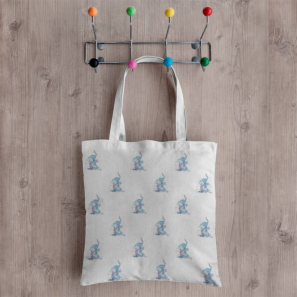 """Arthur"" Baby Elephant Repeat Canvas Tote Bag"