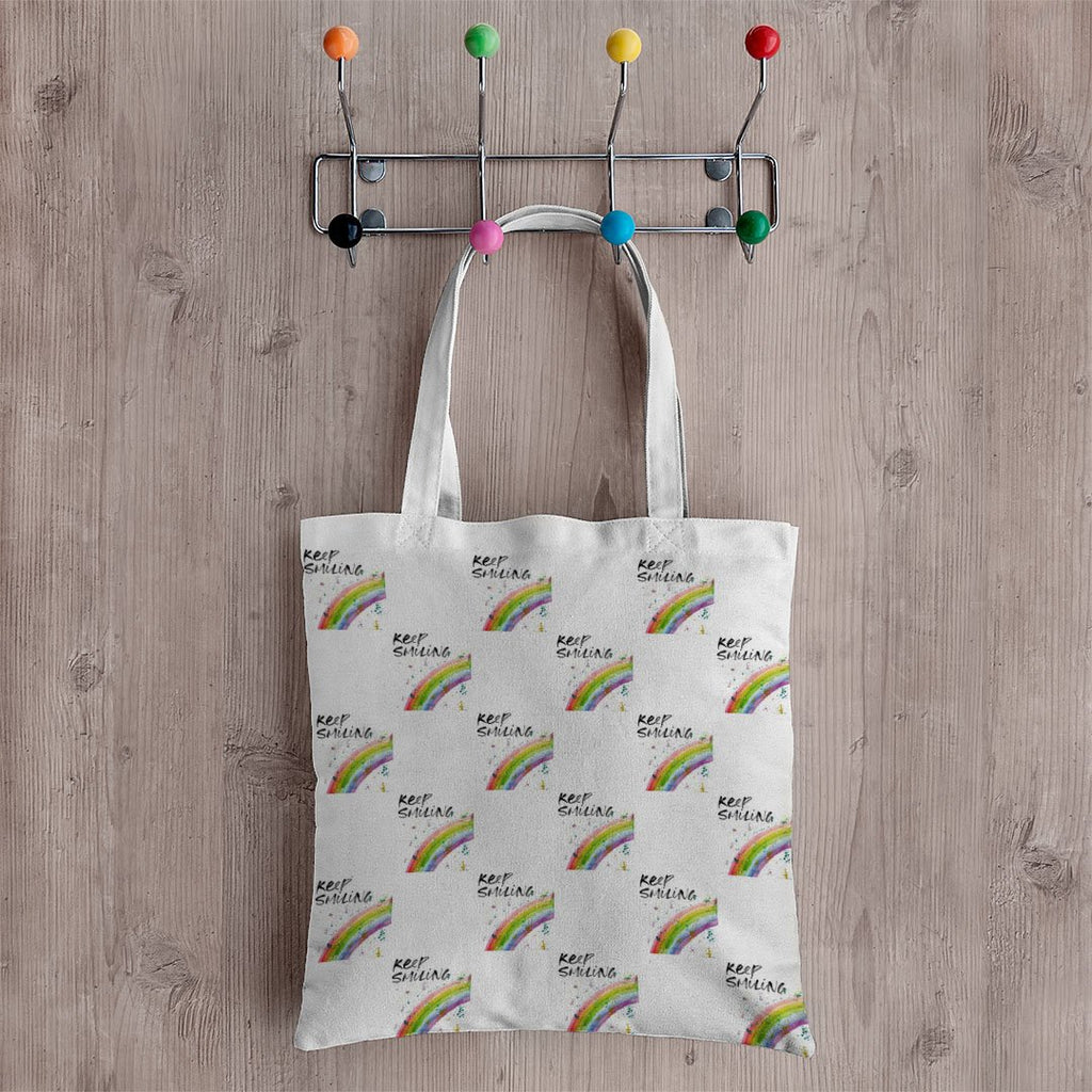 """Keep Smiling"" Rainbow Repeat Canvas Tote Bag"