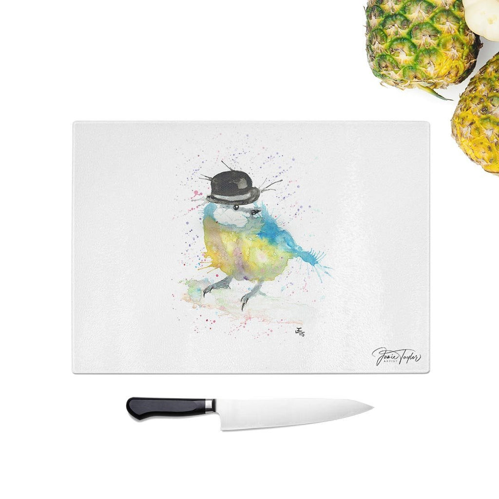 Bluetit Bowler Glass Chopping Board