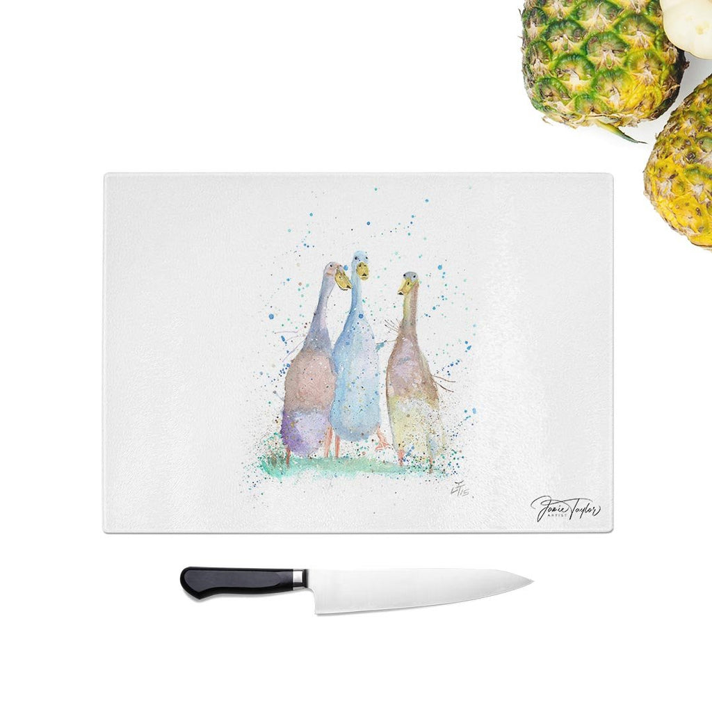 Three Runner Ducks Glass Chopping Board