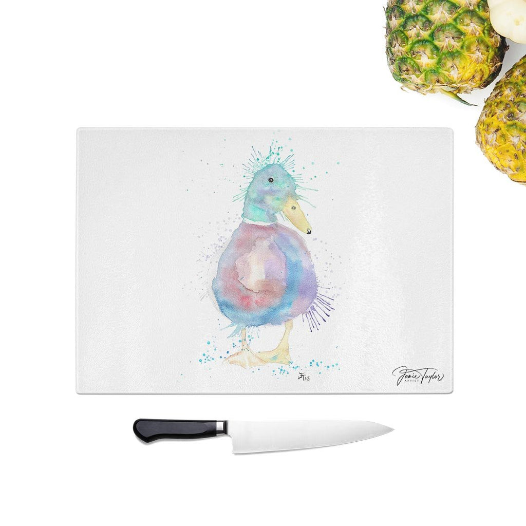 Monsieur Puddle Duck Glass Chopping Board