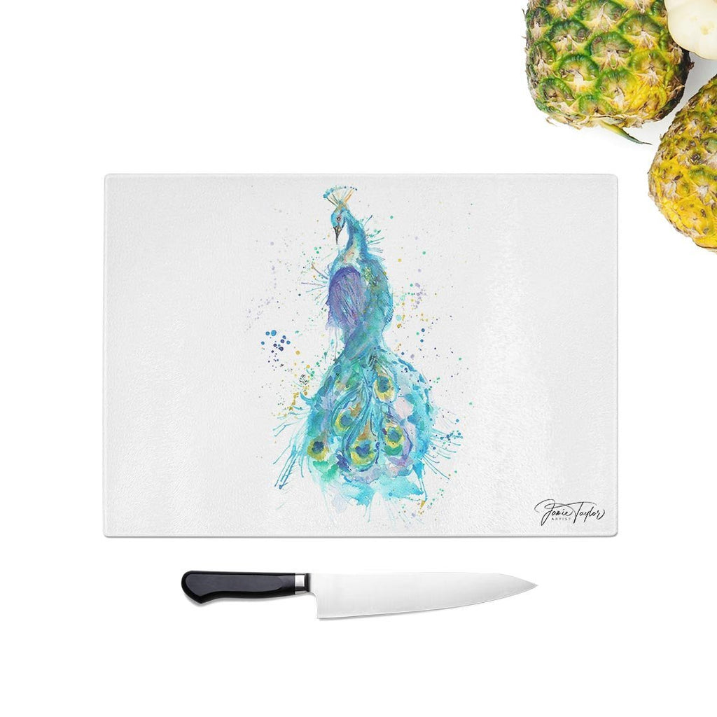 """Prince"" Peacock Glass Chopping Board"