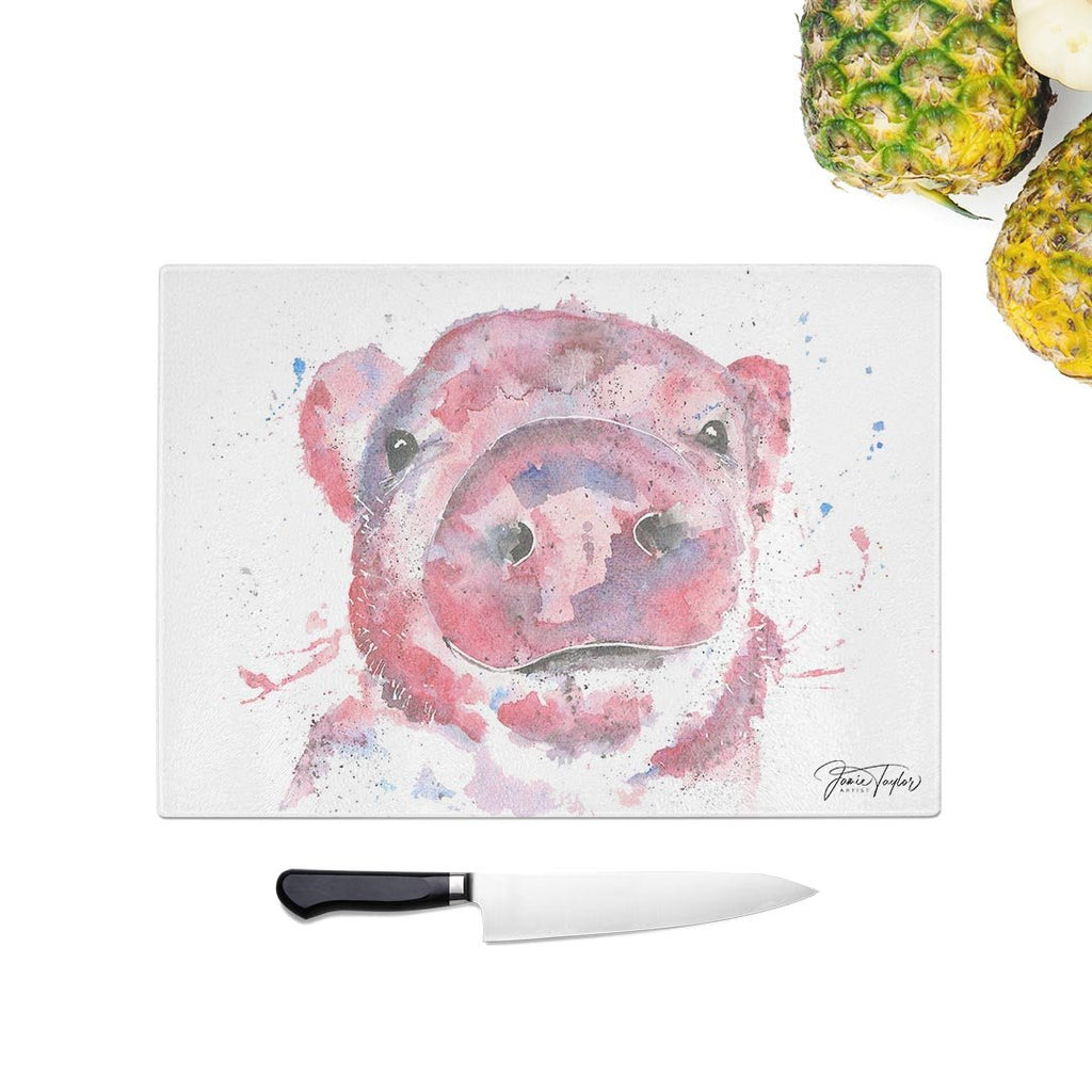 """Priscilla"" Pig Glass Chopping Board"