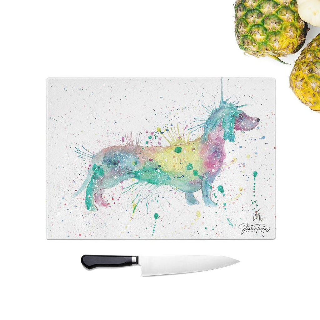 Mrs Sausage Dog Glass Chopping Board