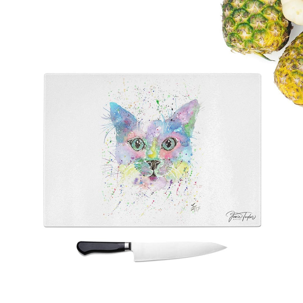 """Meep"" Cat Glass Chopping Board"