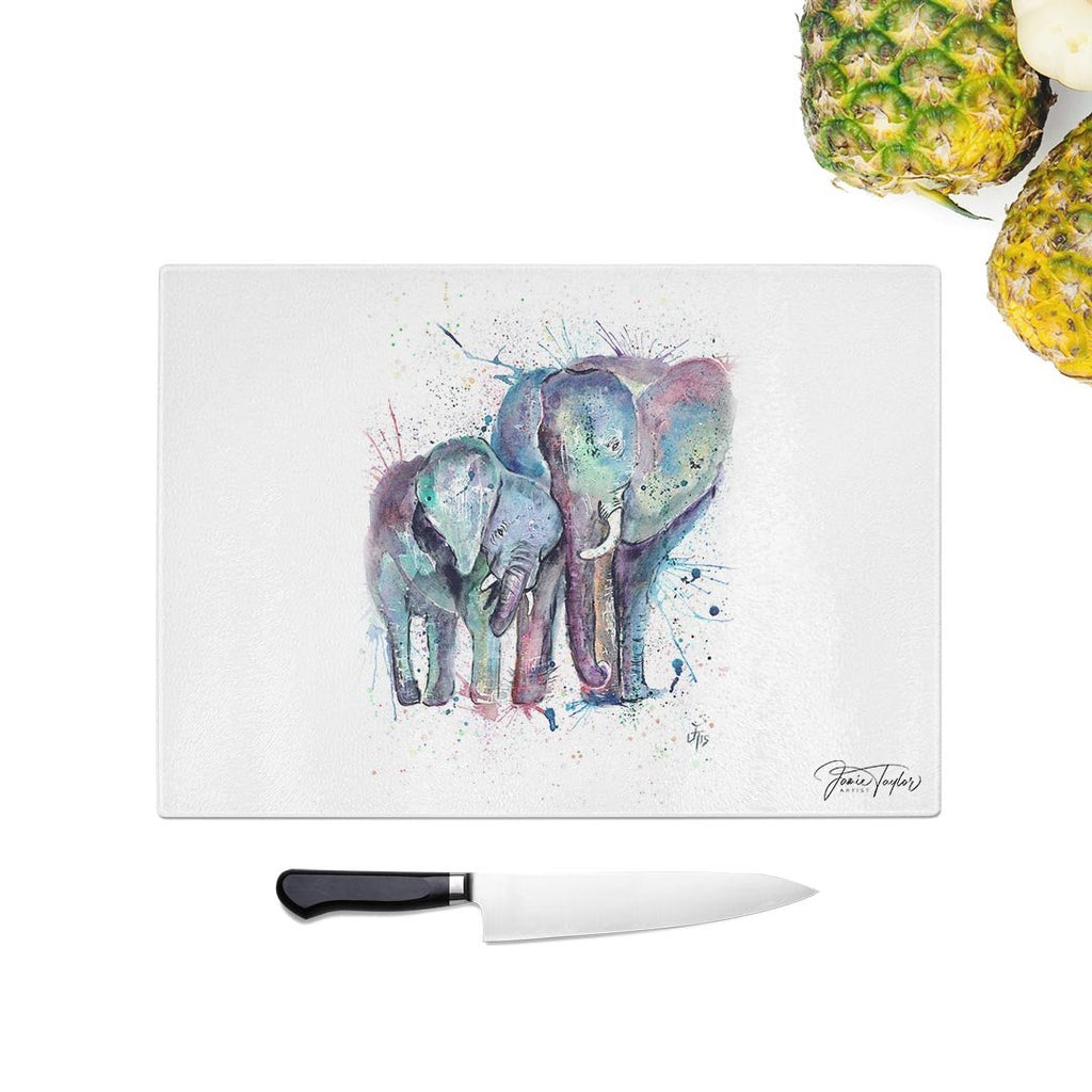 """Us"" Mummy & Babby Elephant Glass Chopping Board"