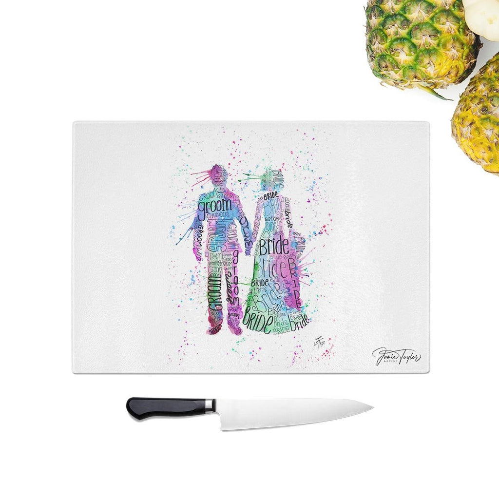 Bride & Groom (Pink) Glass Chopping Board