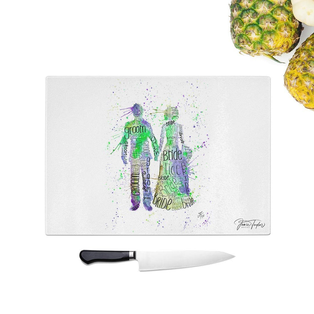 Bride & Groom (Green) Glass Chopping Board
