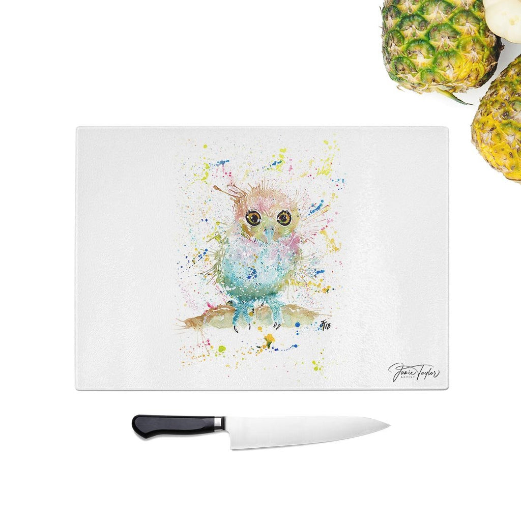 Baby Owl Glass Chopping Board