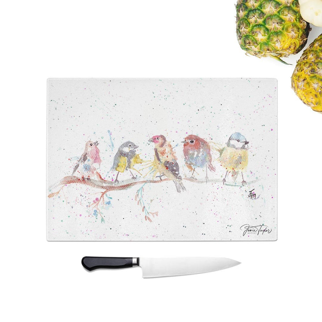 """Tree Friends"" Birds 2 Glass Chopping Board"