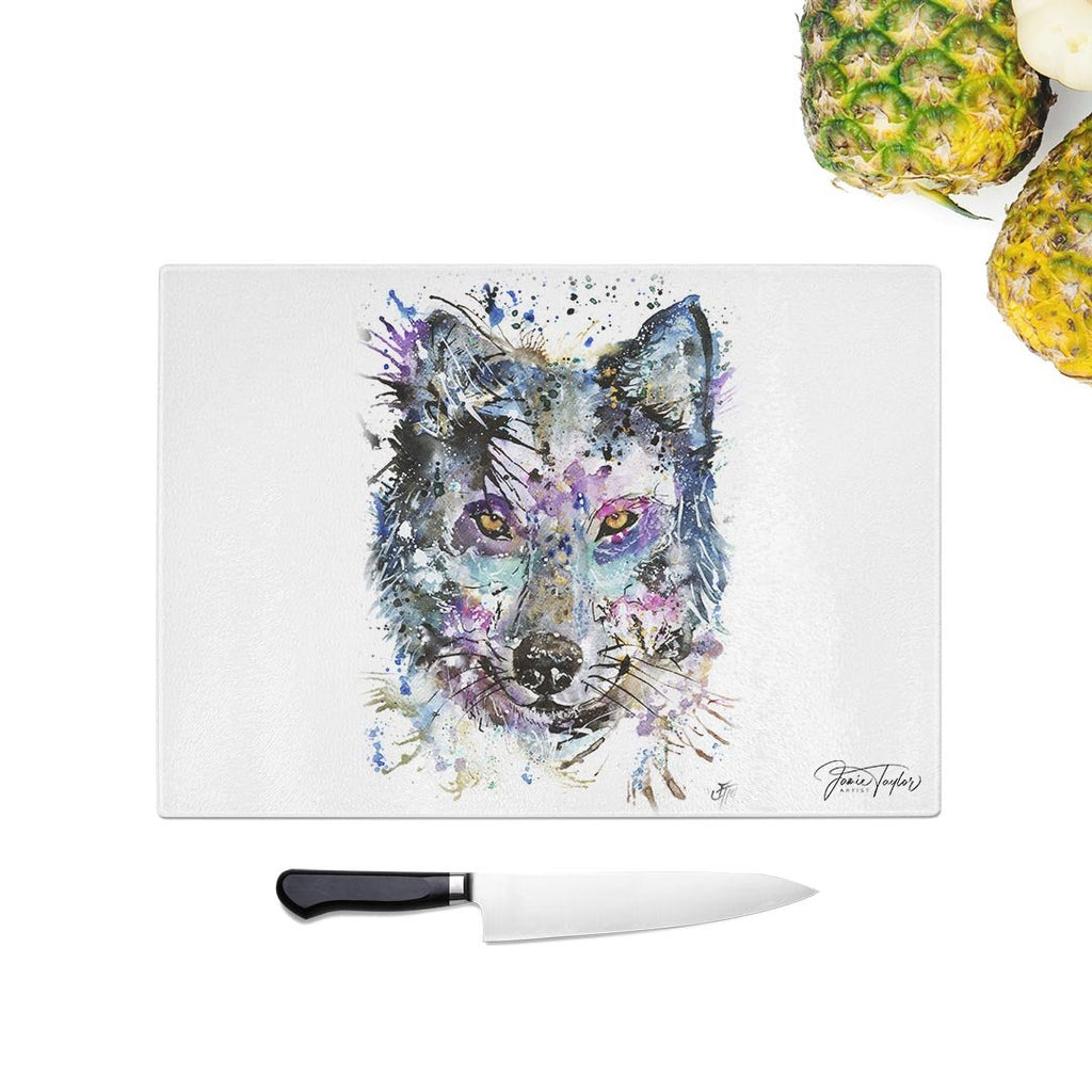 """Howl"" Wolf Glass Chopping Board"