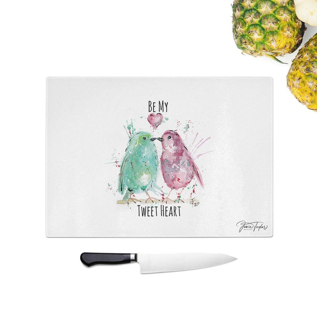 Be My Tweet Heart Glass Chopping Board