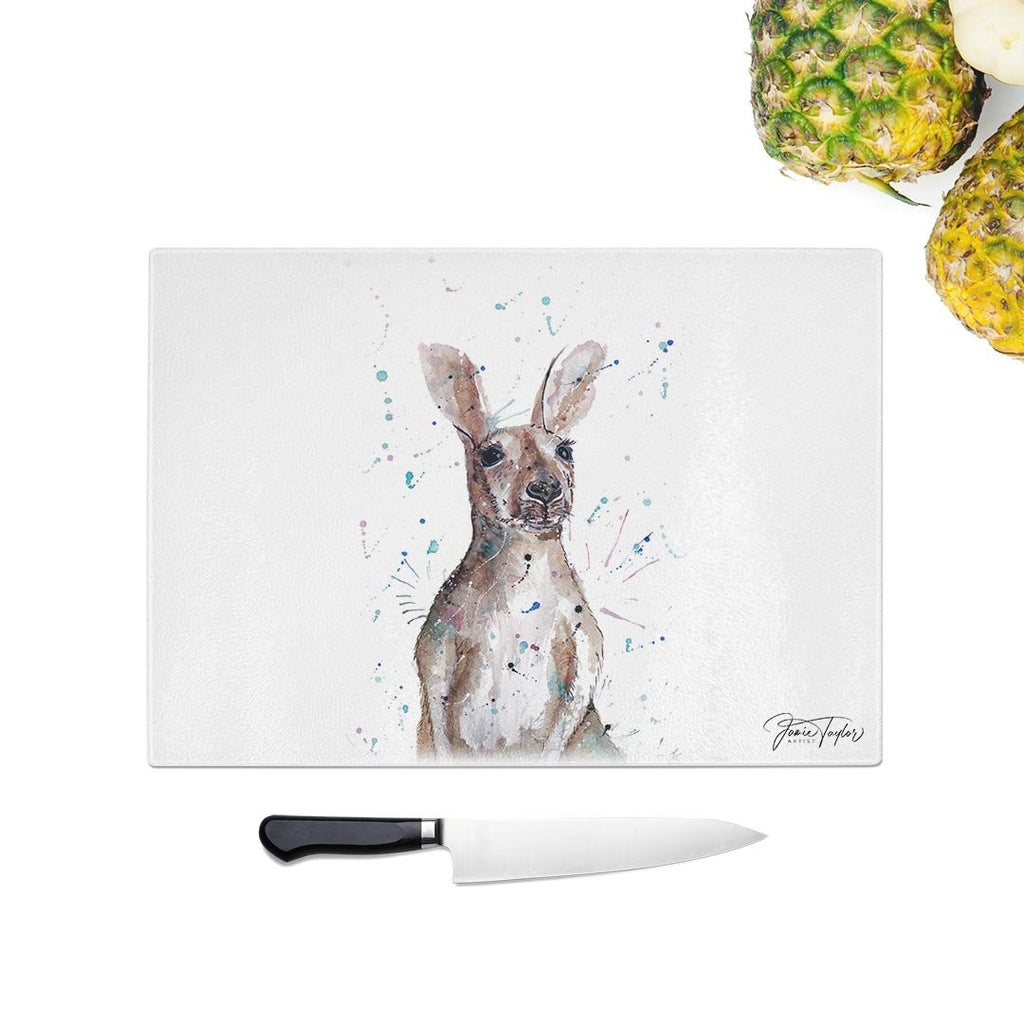 """Casey"" Kangaroo Glass Chopping Board"