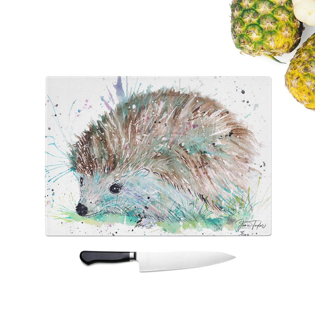 """Sweet"" Hedgehog Glass Chopping Board"
