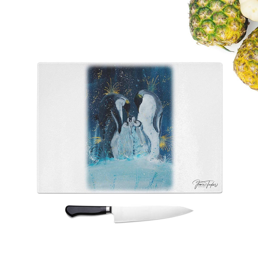 """Tranquil"" Penguins Glass Chopping Board"