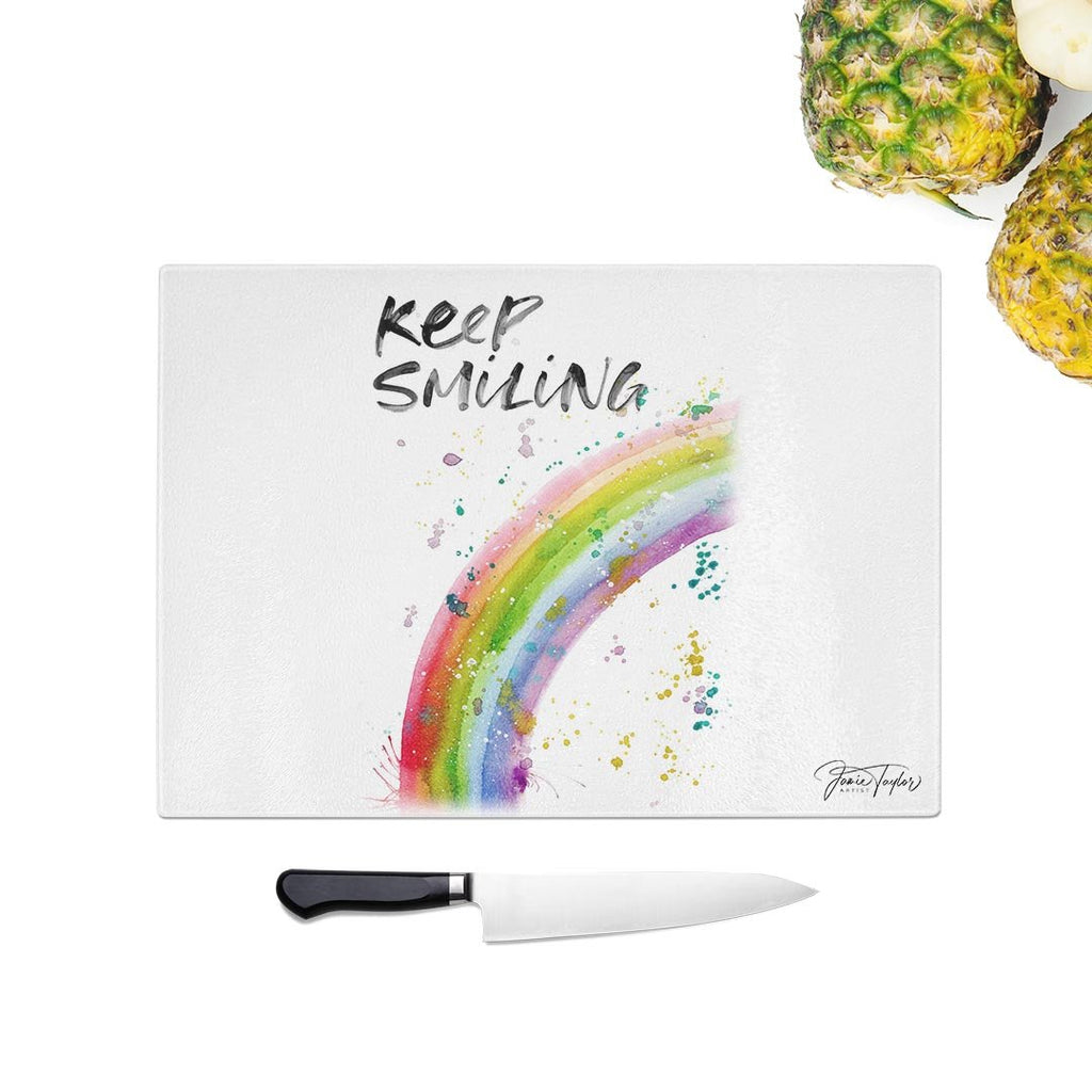 """Keep Smiling"" Rainbow Glass Chopping Board"